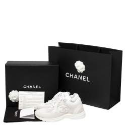 Chanel White Mesh And Leather CC Lace Up Sneakers Size 39