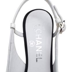 Chanel Black/White Leather Cap Toe Slingback Pumps Size 37