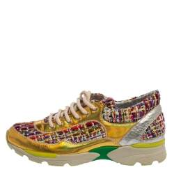 Chanel Multicolor Tweed Fabric And Holographic Leather CC Low Top Sneakers Size 37.5
