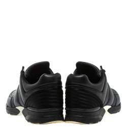 Chanel Black Leather And Satin Athletic CC Lace Up Sneakers Size 40