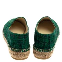 Chanel Green Tweed Fabric And Leather CC Cap Toe Flat Espadrilles Size 38