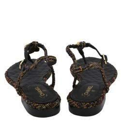 Chanel Black Tweed T Strap Thong Sandals Size EU 38.5