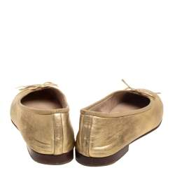 Chanel Gold Leather CC Cap Toe Slip On Flats Size 37.5