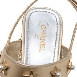 Chanel Gold Leather Star And Pearl Embellished T Strap Sandals Size 39.5