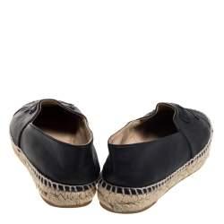 Chanel Black Leather CC Cap Toe Flats Size 37