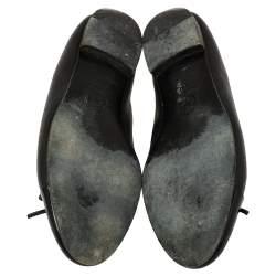 حذاء فلات باليه شانيل فيونكة غطاء مقدمة سى سى جلد لامع وجلد أسود مقاس 39.5