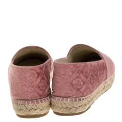 Chanel Pink Camellia Embossed Velvet CC Cap Toe Espadrille Flats Size 40