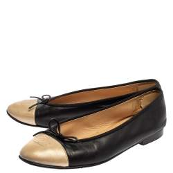 Chanel Black/Gold Leather  Bow  CC Cap Toe Flats Size 40.5