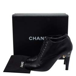 Chanel Black Leather Lucite Pearl Heel Lace Up Ankle Boots Size 42