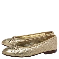 Chanel Gold Leather CC Cap Toe Ballet Flats Size 37