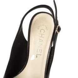 Chanel Black Leather Camellia Slingback Sandals Size 36