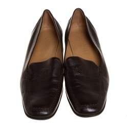 Chanel Brown Leather CC Square Toe Loafers Size 40.5