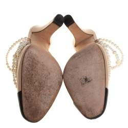 Chanel Beige/Black Leather Pearl Embellished Mules Size 37