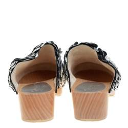 Chanel Metallic Silver Camellia Embellished CC Lock Wooden Clogs Size 39.5