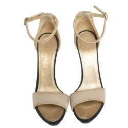 Chanel Beige Fabric And Leather Ankle Strap Sandals Size 39