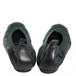 Chanel Green Leather CC Scrunch Ballet Flats Size 35.5