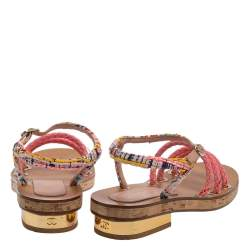 Chanel Multicolor Tweed Cord Cork Flat Slingback Sandals Size 38