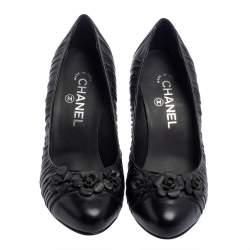 Chanel Black Leather Camellia Pumps Size 38