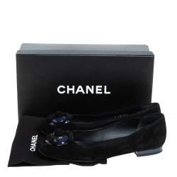 Chanel Black Suede Camellia CC Ballet Flats Size 39