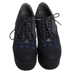 Chanel Black/Blue Wool And Tweed Cap Toe Platform Oxfords Size 36.5