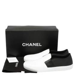 Chanel Monochrome Leather Slip On Sneakers Size 42