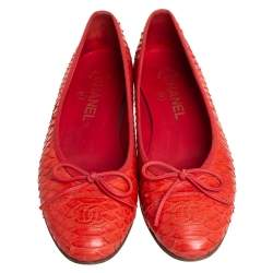 Chanel Red Python Leather CC Ballet Flats Size 37