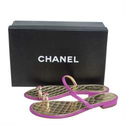 Chanel Pink/Gold Leather Embellished Toe Ring Flat Sandals Size 38