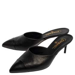 Chanel Black Leather CC Heel Pointed Toe Mules Size 39