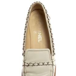 Chanel White Patent Leather Chain Loafers Size 39