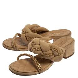 Chanel Beige Suede Braided Chain Embellished Slide Sandals Size 37