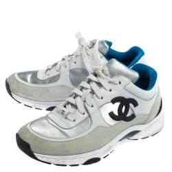 Chanel White/Silver Leather And Polyamide CC Low Top Sneakers Size 38