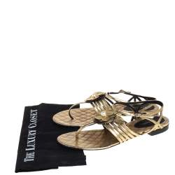 Chanel Metallic Gold Leather  Ankle Strap Sandals Size 39.5