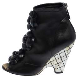 Chanel Black Leather Zipper Ankle Boots Size 36