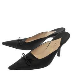 Chanel Black Fabric CC Pointed Toe Mules Size 40.5