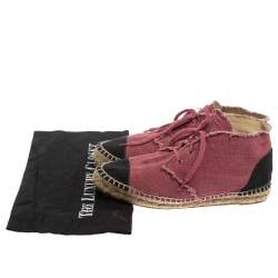 Chanel Two Tone Canvas Cap Toe CC Espadrille Sneakers Size 39