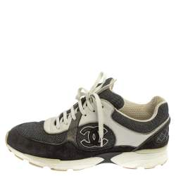 Chanel Black/White Suede And Canvas CC Low Top Sneakers Size 40