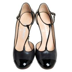 Chanel Black Leather/Patent Leather Mary Jane Cap Toe T-Strap Pumps Size 37