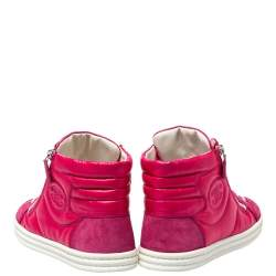 Chanel Pink Leather CC Double Zip Accent High Top Sneakers Size 41