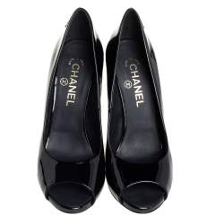 Chanel Black Patent Leather CC Pearl Embellished Heel Peep Toe Pumps Size 39.5