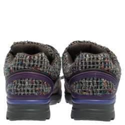 Chanel Multicolor Tweed, Leather and Suede CC Lace Up Sneakers Size 40.5