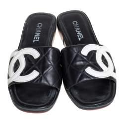 Chanel Black/White Leather CC Cambon Flat Slides Size 41.5