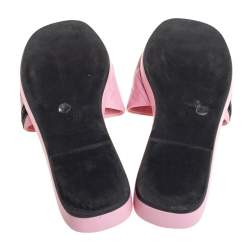Chanel Pink Leather CC Cambon Flat Slides Size 41.5