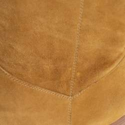 Chanel Vintage Gold Suede Fold CC Knee Length Boots Size 41