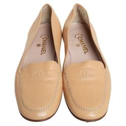 Chanel Beige Leather CC Slip on Loafers Size 41