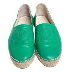 Chanel Green Leather CC Cap Toe Flat Espadrilles Size 38