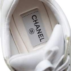 Chanel White Leather And Nylon CC Low Top Sneakers Size 36