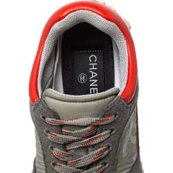 Chanel Grey/Red Nylon And Wool Sport Luxe Low Top Sneaker Size 36