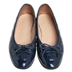 Chanel Blue Patent Leather CC Bow Ballet Flats Size 38.5