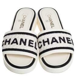 Chanel Off White Leather And Canvas Logo Slide Sandals Size 38