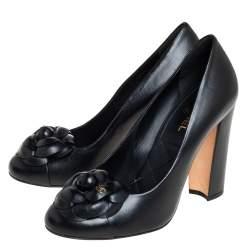 Chanel Black  Leather Camellia  Block Heel Pumps Size 37.5